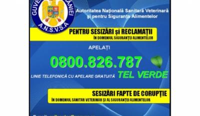Telefonul Consumatorului A.N.S.V.S.A. – 0800 826 787