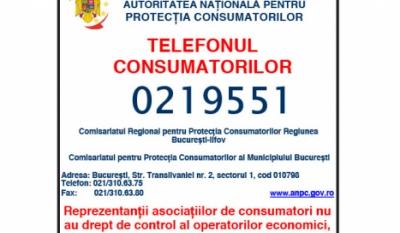 Telefonul consumatorului Protecția Consumatorilor 021 9551