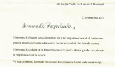 Scrisoare de mulțumire - Secretariatul Majestății Sale Regelui
