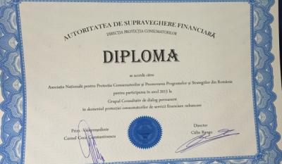 Diplomă de participare Autoritatea de Supraveghere Financiară