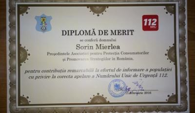 Diplomă din partea Serviciului de Telecomunicații Speciale