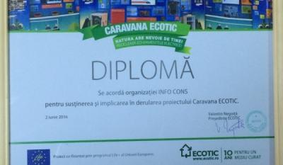 Diplomă pentru susținerea și implicarea în derularea proiectului Caravana Ecotic