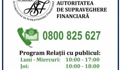 Telefonul Consumatorului ASF - 0800 825 627