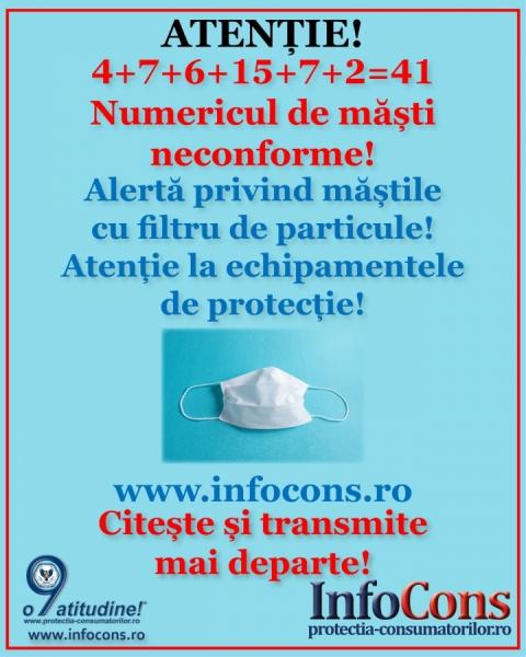 Alerta Protectia consumatorilor! Au fost raportate noi tipuri de masti neconforme! 6 alerte cu un total de 41 de masti n