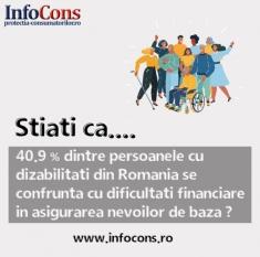 40.9% dintre persoanele cu dizabilități din România se confruntă cu dificultăți financiare în asigurarea nevoilor de bază